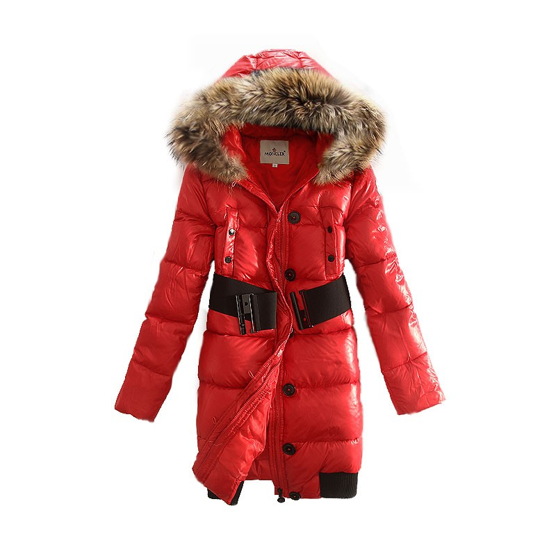 Moncler Polyamide Quilted Hooded Red Coat Women