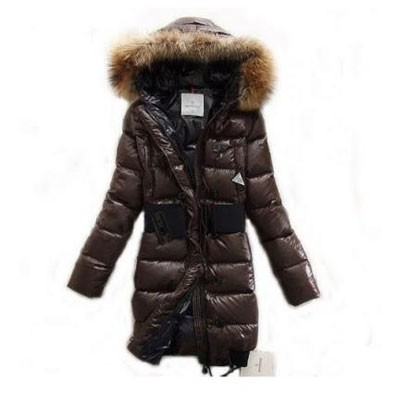 Moncler Pop Star Down Long Brown Coat Women