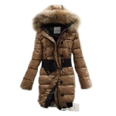 Moncler Pop Star Down Long Khaki Coat Women