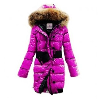 Moncler Pop Star Long Down Pink Coat Women