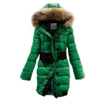Moncler Pop Star Puffer Long Down Green Coat Women