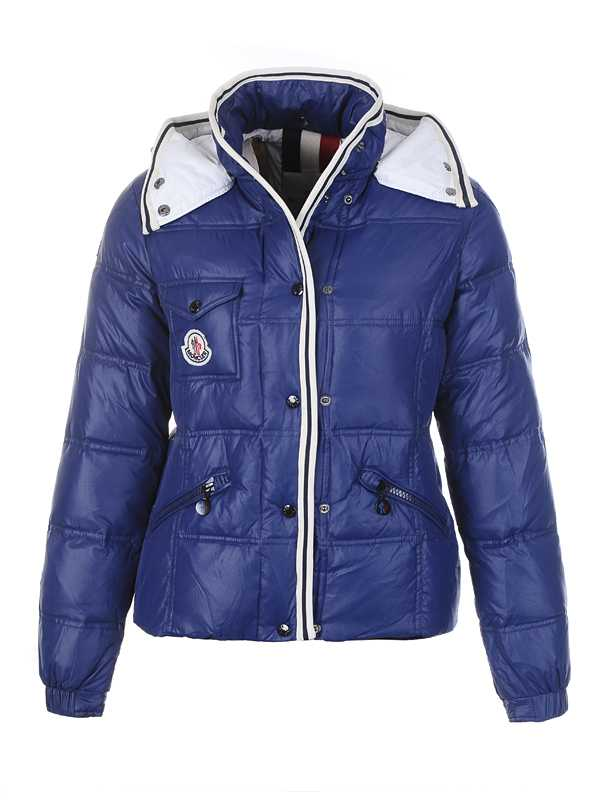 Moncler Quincy Down Jackets For Women Button Dark Blue Short
