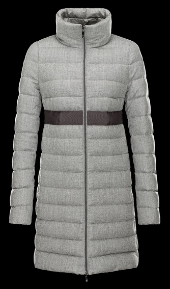 Moncler SOLOGNE Down Jacket Long Coat Gray Collar Coat