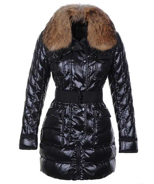 Moncler Safran Coats Women Shiny Fabric Black Long