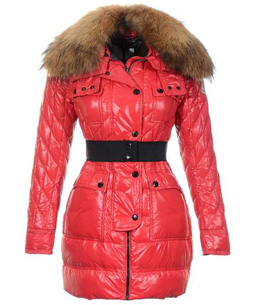 Moncler Safran Coats Women Shiny Fabric Red Long