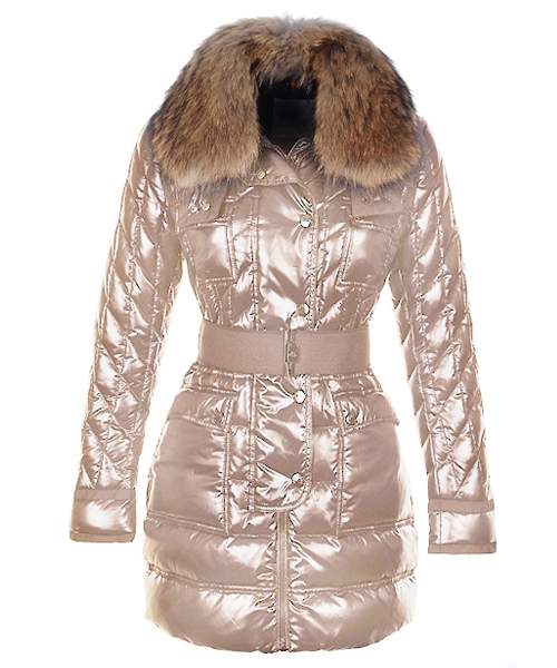 Moncler Safran Coats Women Smooth Shiny Fabric Beige