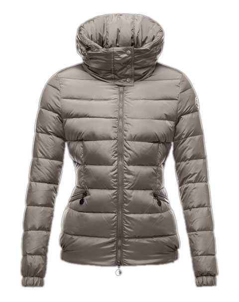 Moncler Sanglier Popular Jackets Women Zip Collar Silver Gray