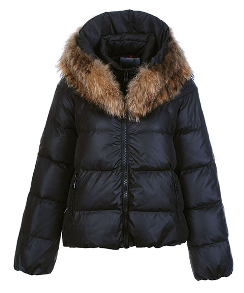 Moncler Sauvage Down Jackets Women Zip Fur Collar Black