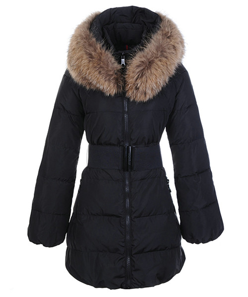 Moncler Sauvage Women Down Coat Fur Collar Long Black