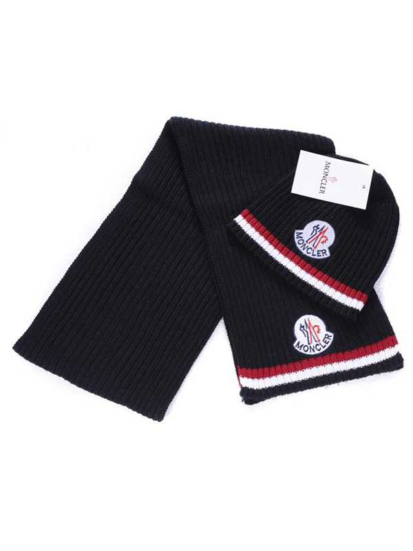 Moncler Scarf And Caps Pure Cotton Black