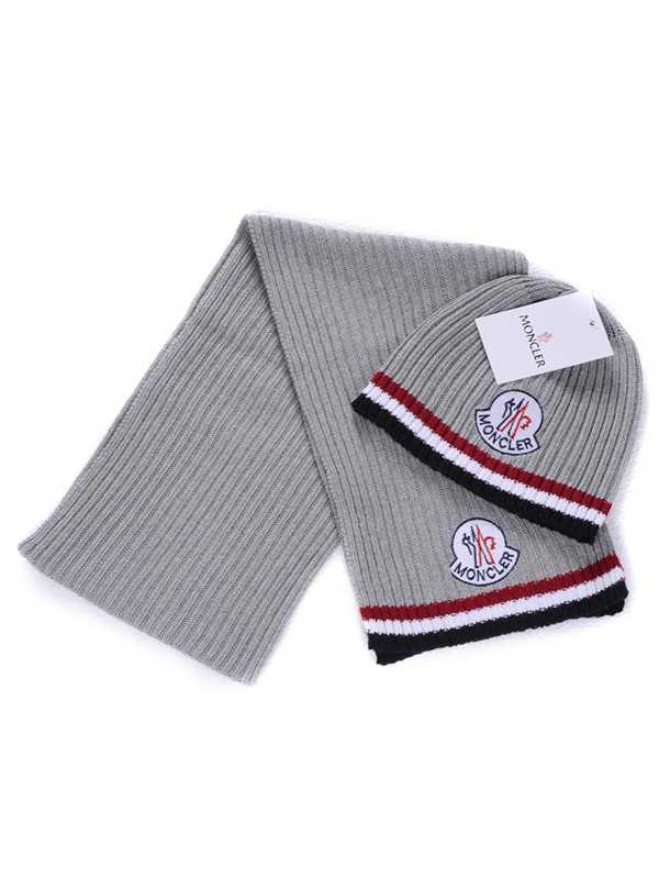 Moncler Scarf And Caps Pure Cotton Gray
