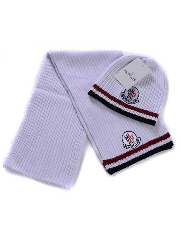 Moncler Scarf And Caps Pure Cotton White