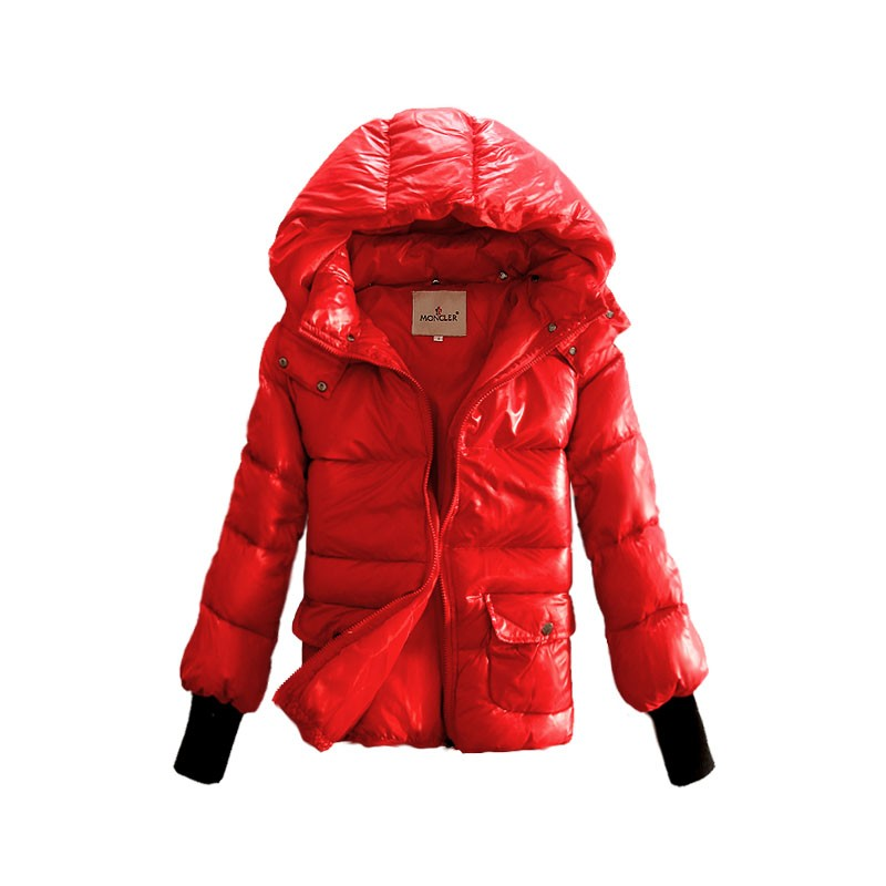 Moncler Short Down Red Jacket Women