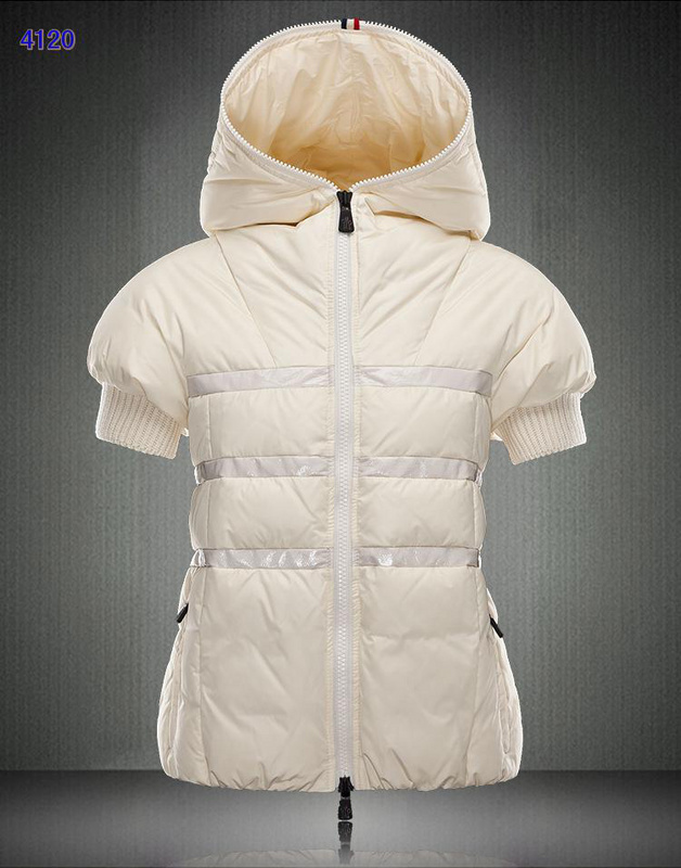 Moncler Short Sleeve Women Down Jackets White