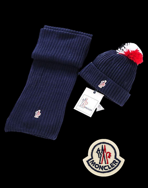 Moncler Simple Royal Blue Scarf & Cap