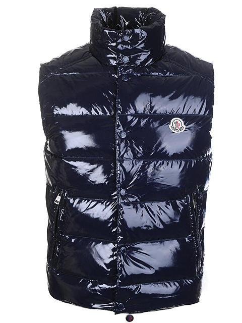 Moncler Sleeveless Vest For Men Smooth Shiny Fabric Navy Blue