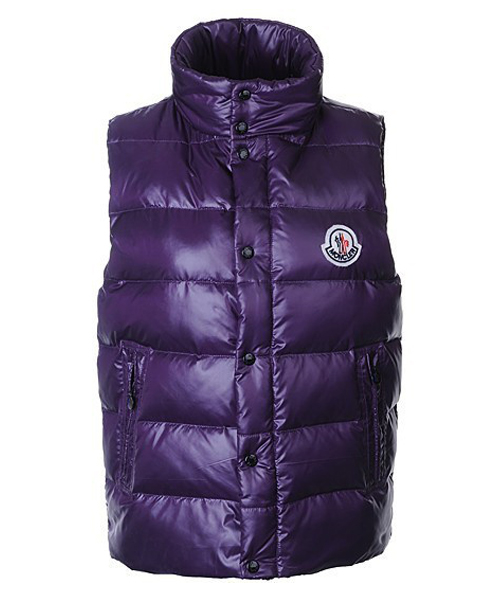Moncler Sleeveless Vest For Men Smooth Shiny Fabric Purple