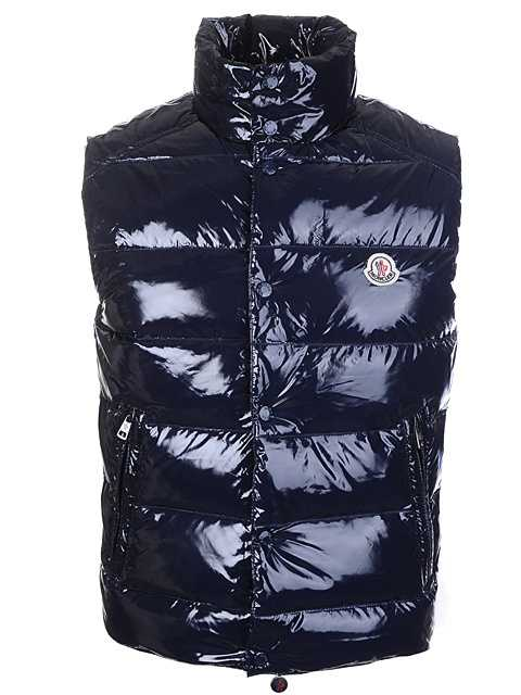 Moncler Sleeveless Vest For Mens Smooth Shiny Fabric Navy Blue