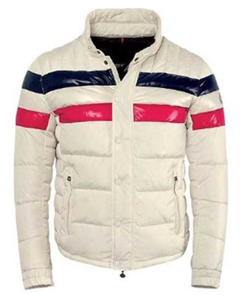 Moncler Striped Technical Menuire Mens Jackets Beige Short