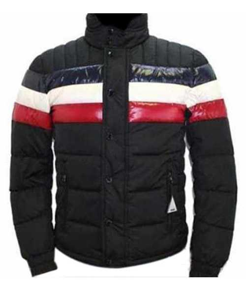 Moncler Striped Technical Menuire Mens Jackets Black Short