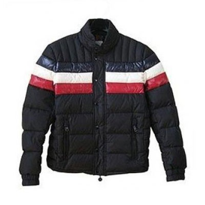 Moncler Striped Technical Menuire Sport Black Jacket Men