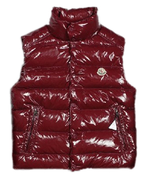 Moncler TIB Design Men Down Vests Sleeveless Dark Red