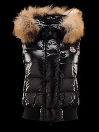 Moncler Tarn Vest Women Black Fur Hat