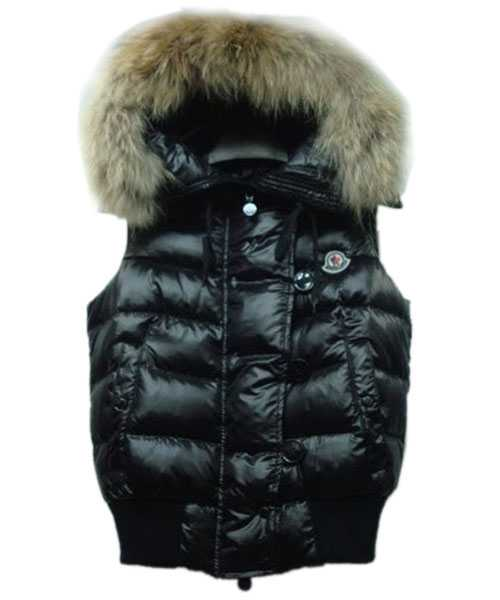 Moncler Tarn Women Down Vest Rabbit Hats Zip Black