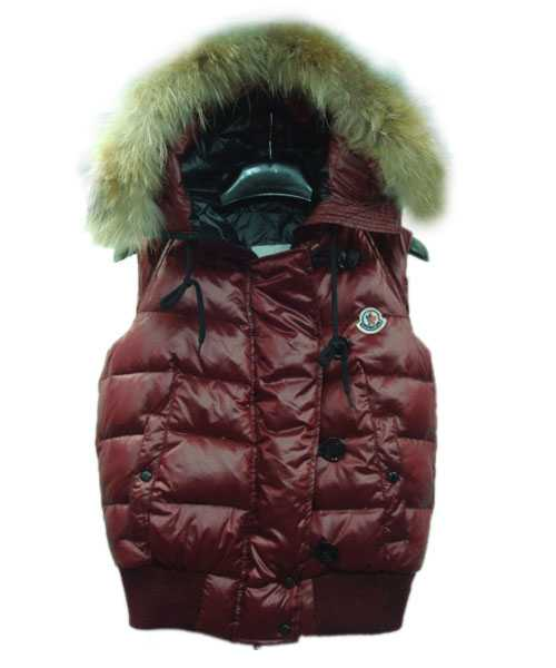 Moncler Tarn Women Down Vest Rabbit Hats Zip Dark Red