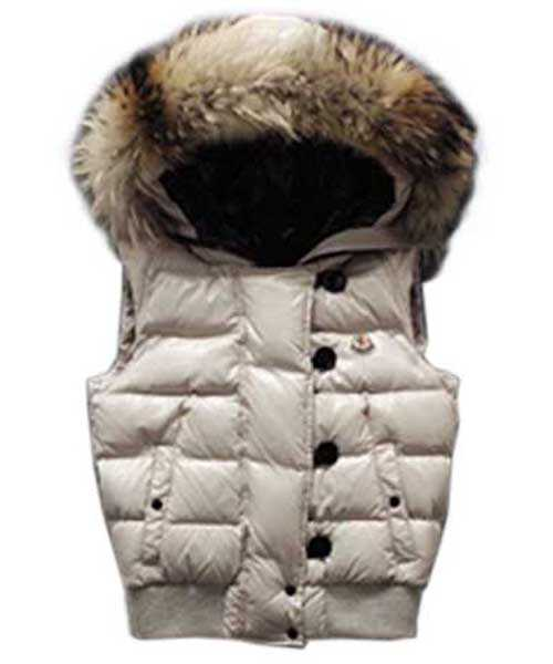 Moncler Tarn Women Down Vest Rabbit Hats Zip White