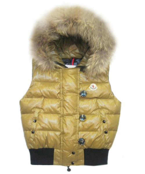Moncler Tarn Womens Down Vest Rabbit Hats Zip Yellow