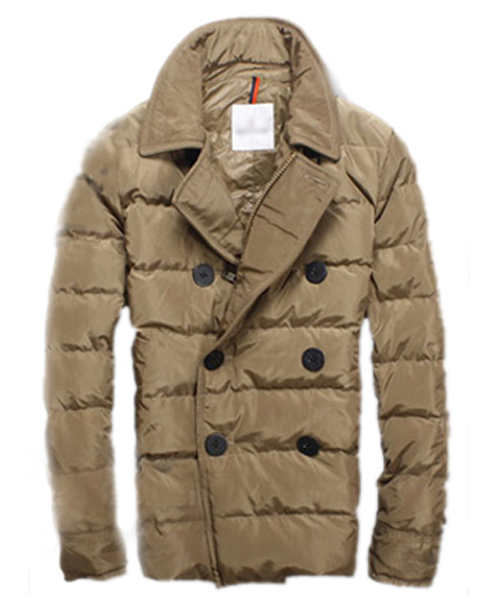 Moncler Down Jacket Handsome Men Button Brown