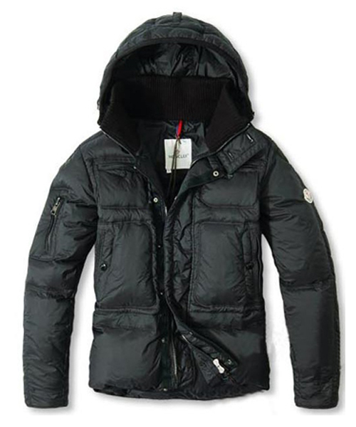 Moncler Down Jackets Men With Hooded Zip Black