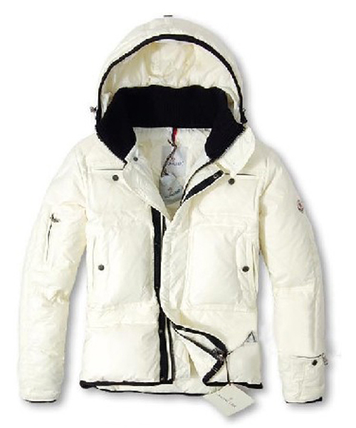 Moncler Down Jackets Men With Hooded Zip White