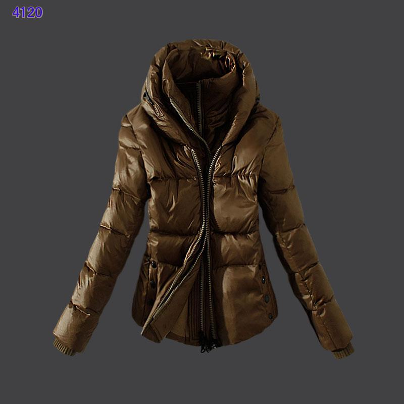 Moncler Womens Down Jackets Zip Coffee