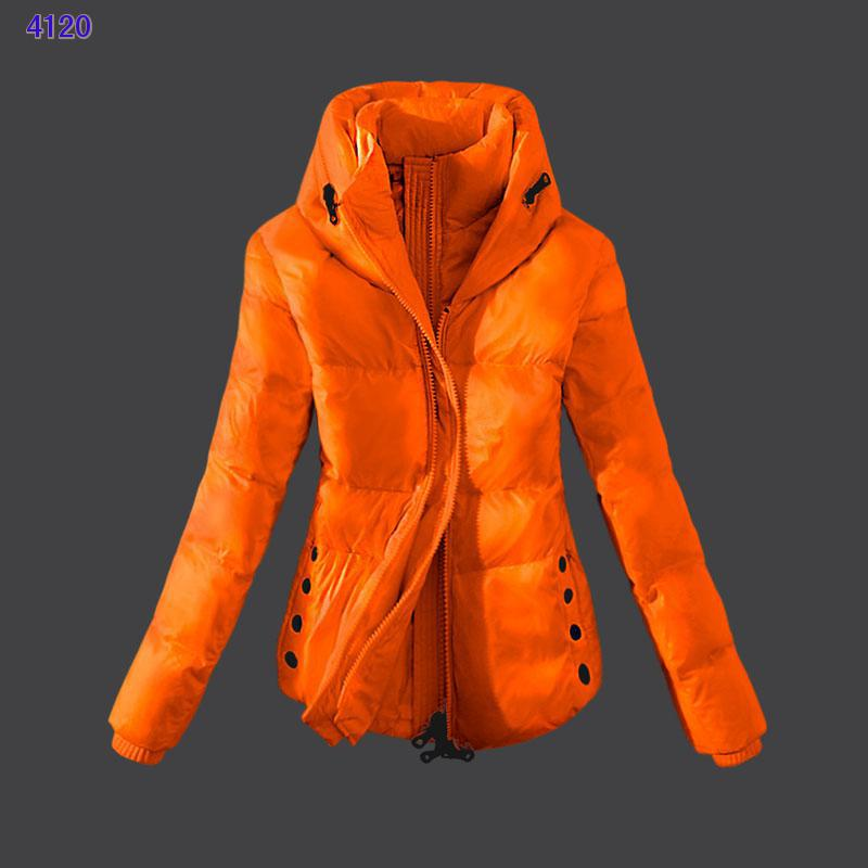 Moncler Womens Down Jackets Zip Orange