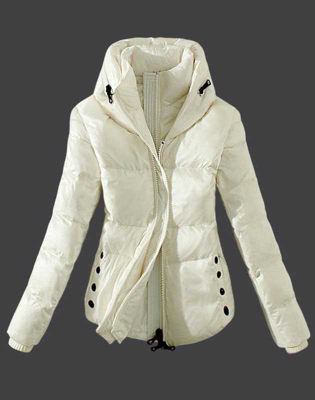 Moncler Womens Down Jackets Zip White