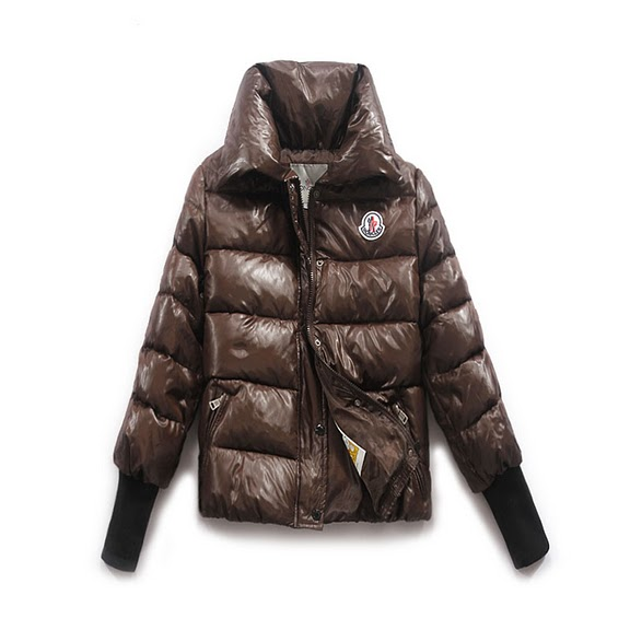 Moncler Tulsa Down Jackets Womens Rib Long Sleeve Collar Brown