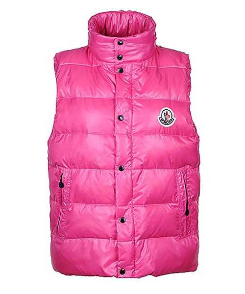 Moncler Unisex Down Vests Single Breasted Pink