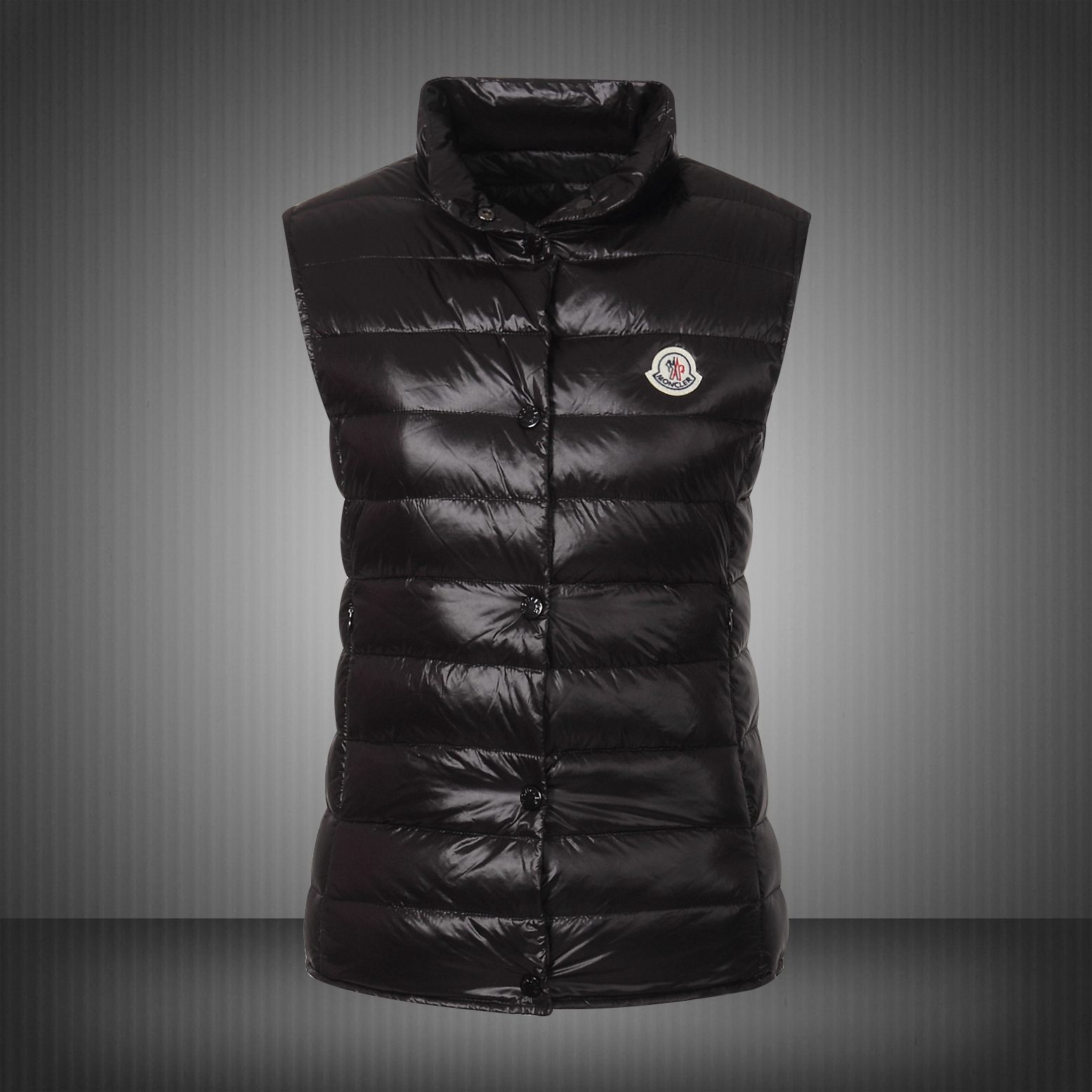 Moncler Vest Women Black With Mock Collar