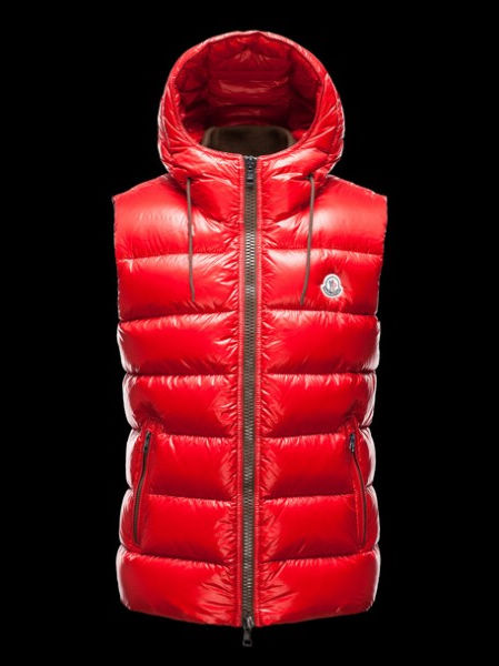 Moncler Jacket Bartholome Hood Men Vest Red