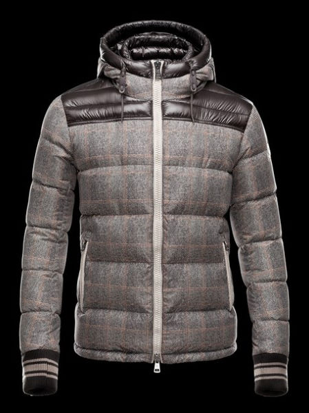 Moncler Men's Leather Hooded Jacket Eusebe Brown