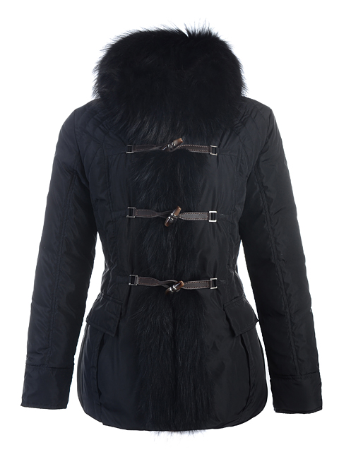 Moncler Jackets Cricket Fur Hood Black Women