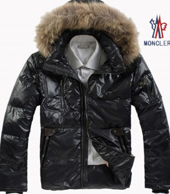 Moncler Men's Jackets Black Raccoon Fur Collar