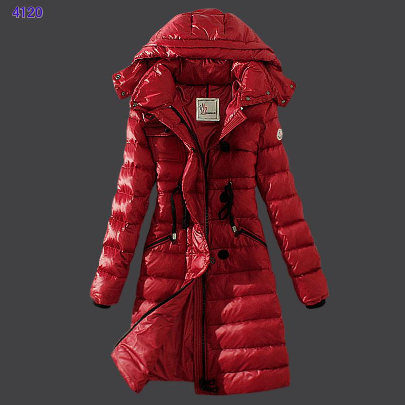 Moncler Winter Down Coat Women Hooded Slim Red