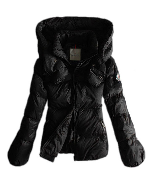 Moncler Winter Jackets Women Pure Color Black Double Collar