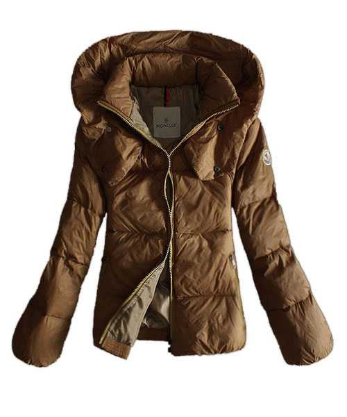 Moncler Winter Jackets Women Pure Color Khaki Double Collar