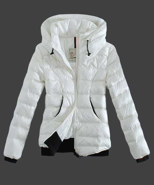 Moncler Winter Jackets Women Zip Stand Collar White