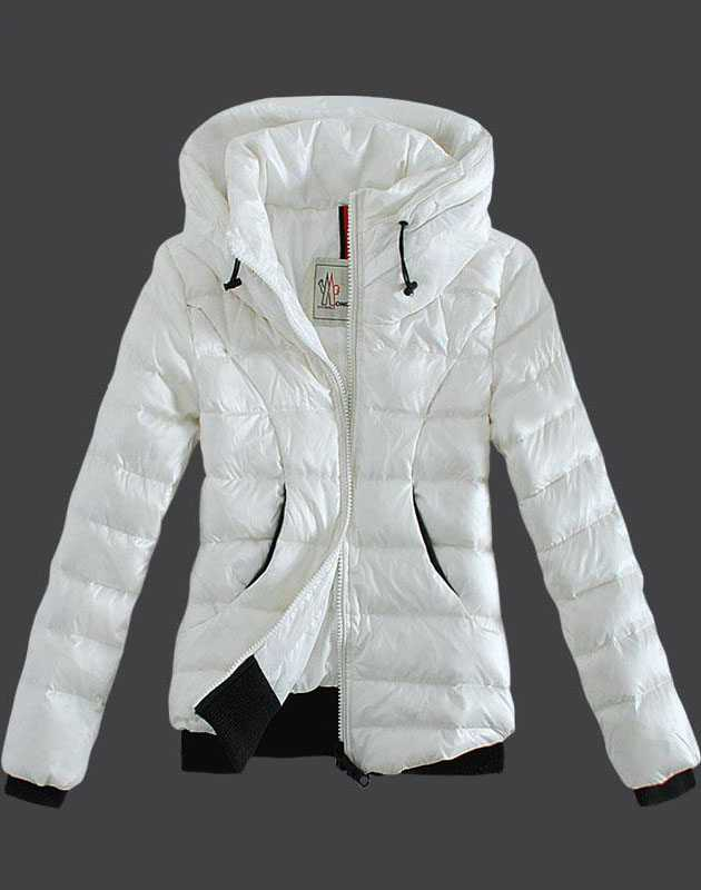 Moncler Winter Jackets Womens Zip Stand Collar White