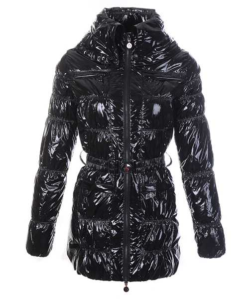 Moncler Women Down Coats Skinny Zip Decorative Belt Black